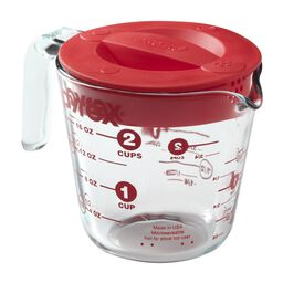 2 Cup Measuring Cup w/ Red Plastic Lid
