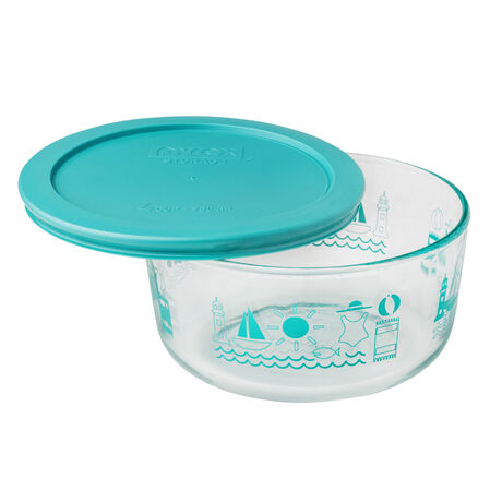 Simply Store® Summer Fun 4 Cup Storage Dish w/ Turquoise Lid