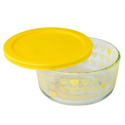 Simply Store® 4 Cup Yellow Hearts Storage Dish w/ Lid