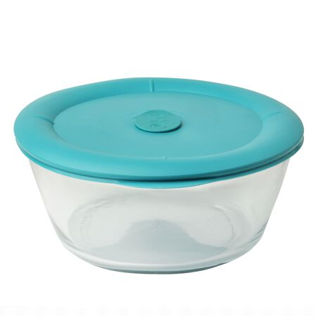 Pro 3-qt Oval Storage Dish w/ Turquoise Vented Lid