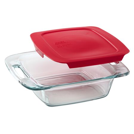"Easy Grab® 8"" Square Baking Dish w/Red Lid"