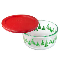 Simply Store® 4 Cup Green Christmas Tree Holiday Dish w/ Red Lid