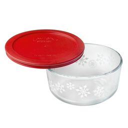 Simply Store® 4 Cup White Snowflake (2016) Holiday Dish w/ Red Lid