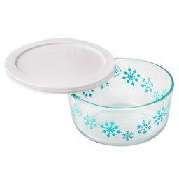 Simply Store® 4 Cup Blue Snowflake Holiday Dish w/ White Lid