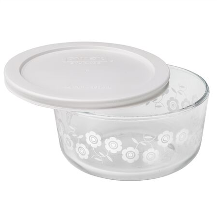 Simply Store® 4 Cup White Flowers Storage Dish w/ Lid