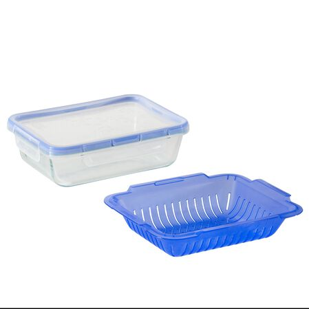 Total Solution™ Pyrex® Glass Food Storage 6 Cup, Rectangle w/ Steamer Basket