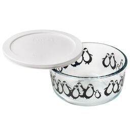 Simply Store® 4 Cup Black Penguins Holiday Storage Dish w/ White Lid